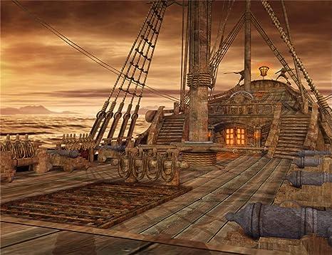 Lfeey - Fondo de Madera para Escalera, diseño de Barco Pirata en el mar: Amazon.es: Electrónica