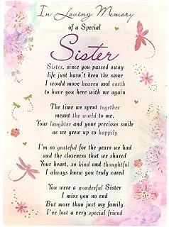 Happy Birthday Sister Memorial Graveside Poem Keepsake Card Includes