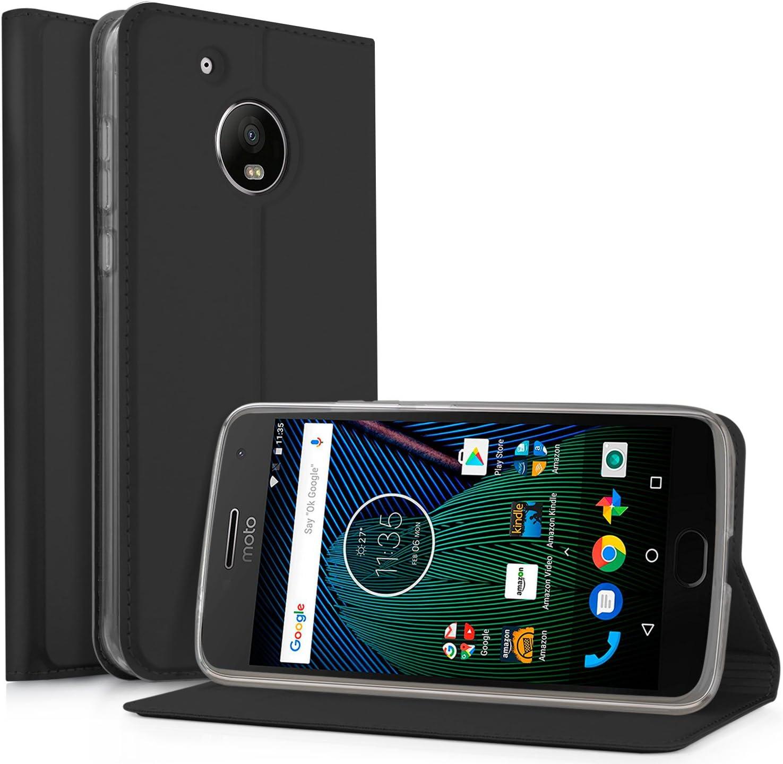 IVSO Motorola Moto G5 Funda Slim Flip Cover Funda de Cuero PU Multi-Angle Shockproof Silicio Inner Funda cáscara Protectora Carcasa para Moto G5 2017 Smartphone(Negro): Amazon.es: Electrónica