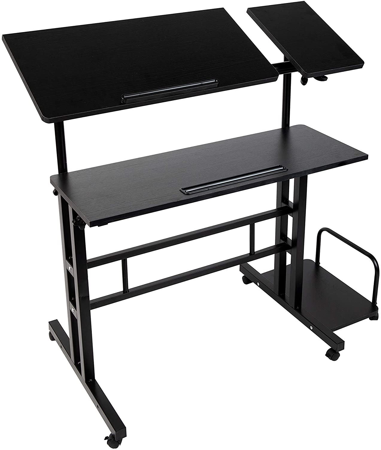Mind Reader Mobile Sitting, Standing Desk Rolling Reversible Home Office Laptop Workstation with Side Storage, Locking Wheels, X-Large, Black