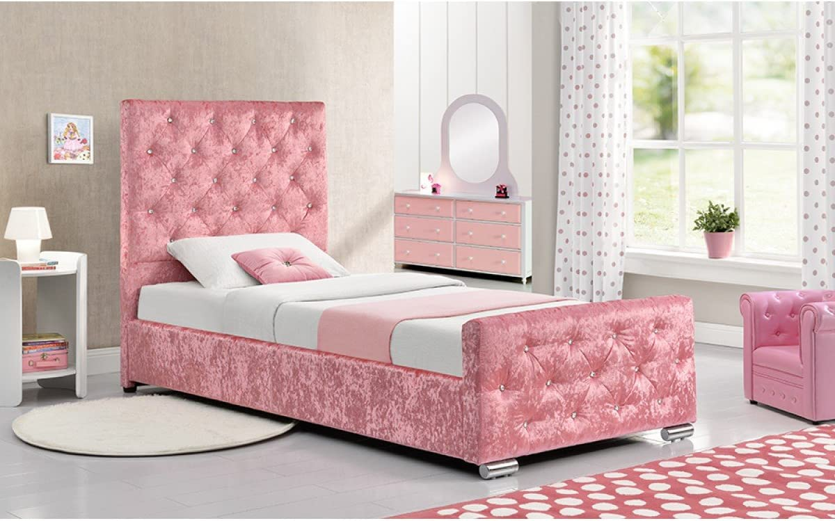 Pink Crushed Velvet Fabric Double Size Bed Frame Diamante Princess Bedroom