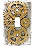 4.25 Inch Resin Steampunk Light Switch Plate Cover, Gold/Gray