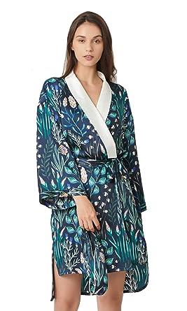 LILYSILK Robe de Chambre Femme en Soie 100% Peignoir Imprimé