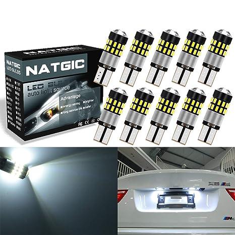 NATGIC T10 168 175 Bombilla LED CanBus 300LM 6000K 3014 30SMD Lentes de chips para Sidemarker