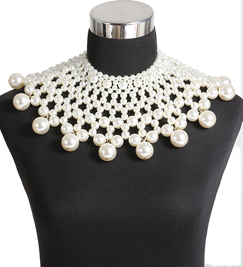 Boderier Egyptian Pearl Collar Necklace Statement Choker Necklace Bridal Wedding Accessories Jewelry