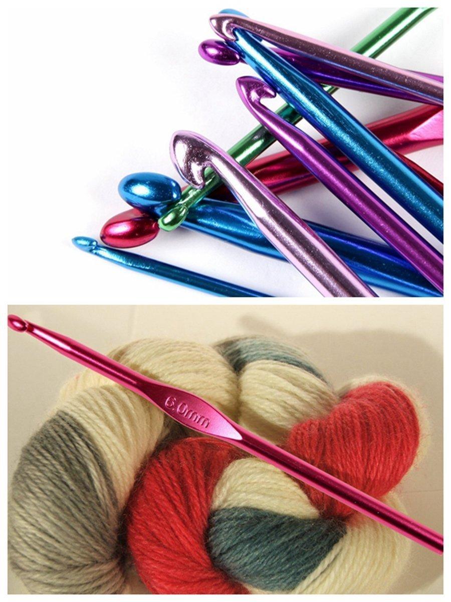 ELINKA Crochet Hooks Mixed Aluminum Handle Knitting Knit Needles Sewing Tools Full Set Knit Gauge Scissors Stitch Holders Weave Yarn Set of 51pcs by ELINKA (Image #7)