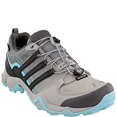 Terrex Swift R Gtx W Grey Two/Utility Black/Clear Aqua Women's Hiking Shoes - 10 B(M) US