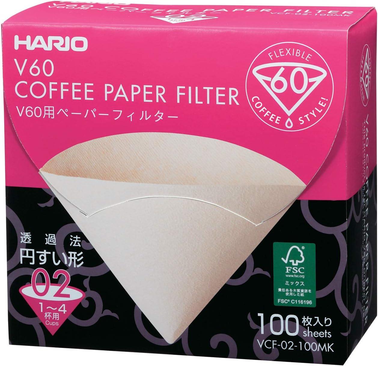 HARIO v60 02 Filtre Papier Filtre sachets papier filtre 1-4 tasses vcf-02-100w-h UE