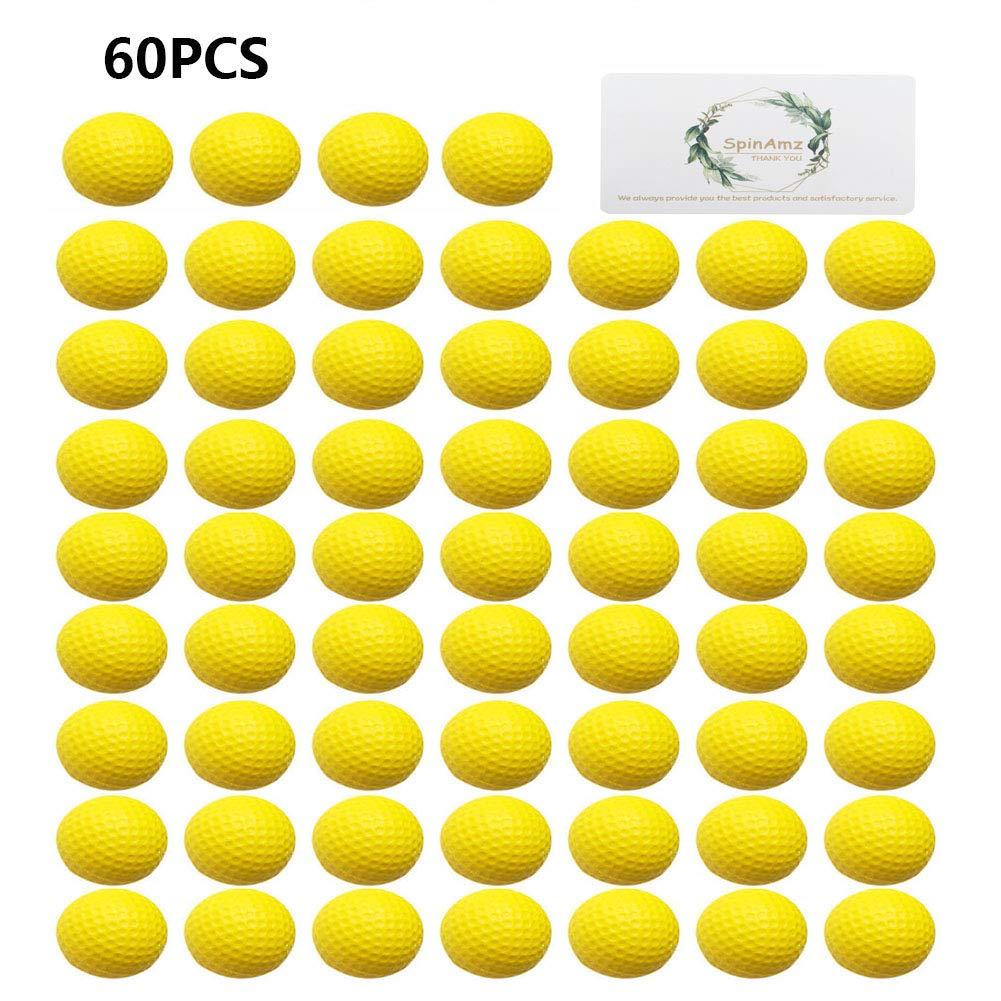 Practice Golf Balls,Smartlife15 Foam Sponge Soft Elastic Golf Balls, Indoor Outdoor Golf Training Aid Balls (Yellow,60pcs) by Smartlife15
