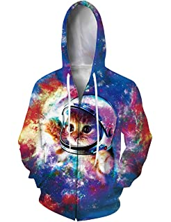 RAISEVERN Unisex Galaxy Nebula Zip Up Hoodie All Over Print Jacket Sweatshirt