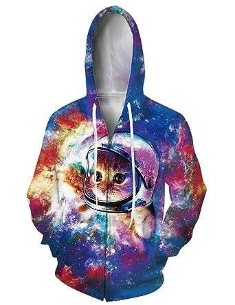 1b4a17554d3 RAISEVERN Unisex Full-Zip Hoodies 3D Digital Printed Creative Astronaut  Space Cat Graphic Sweatshirt Jacket