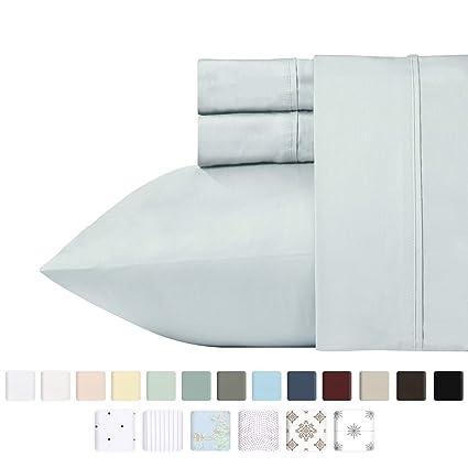 amazon com 400 thread count 100 cotton sheet set light grey queen