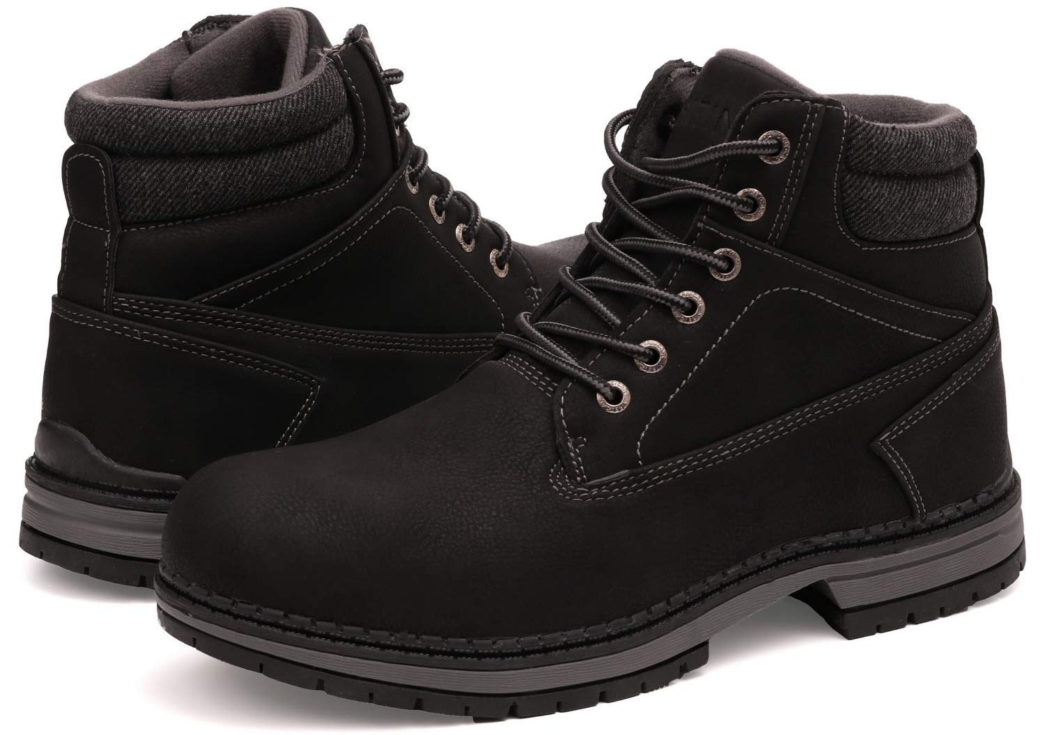 WHITIN Men's Mid Soft Toe Leather Insulated Work Boots Construction Rubber Sole Roofing Waterproof for Outdoor Hiking Winter Snow Extra Wide Width Non Slip Slip Resistant Nonslip Black Size 9.5 by WHITIN