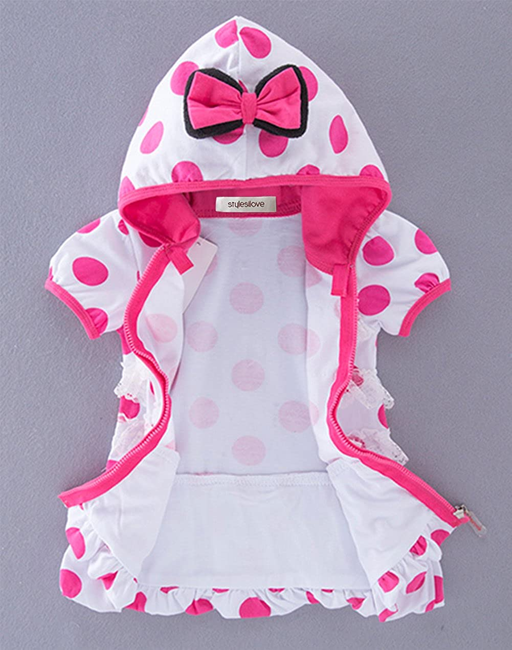 stylesilove Hot Pink Polka Dot Minnie Baby Girl Short Sleeves Hoodie Jacket