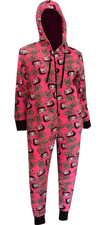 b2861933e Amazon.com  Betty Boop Women s Hot Pink Plush Onesie Hooded Pajama ...