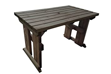 Hollies Wooden Garden Dining Picnic Table Heavy Duty Handmade Outdoor Furniture In Uk Pressure Treated Rustic Brown 6ft