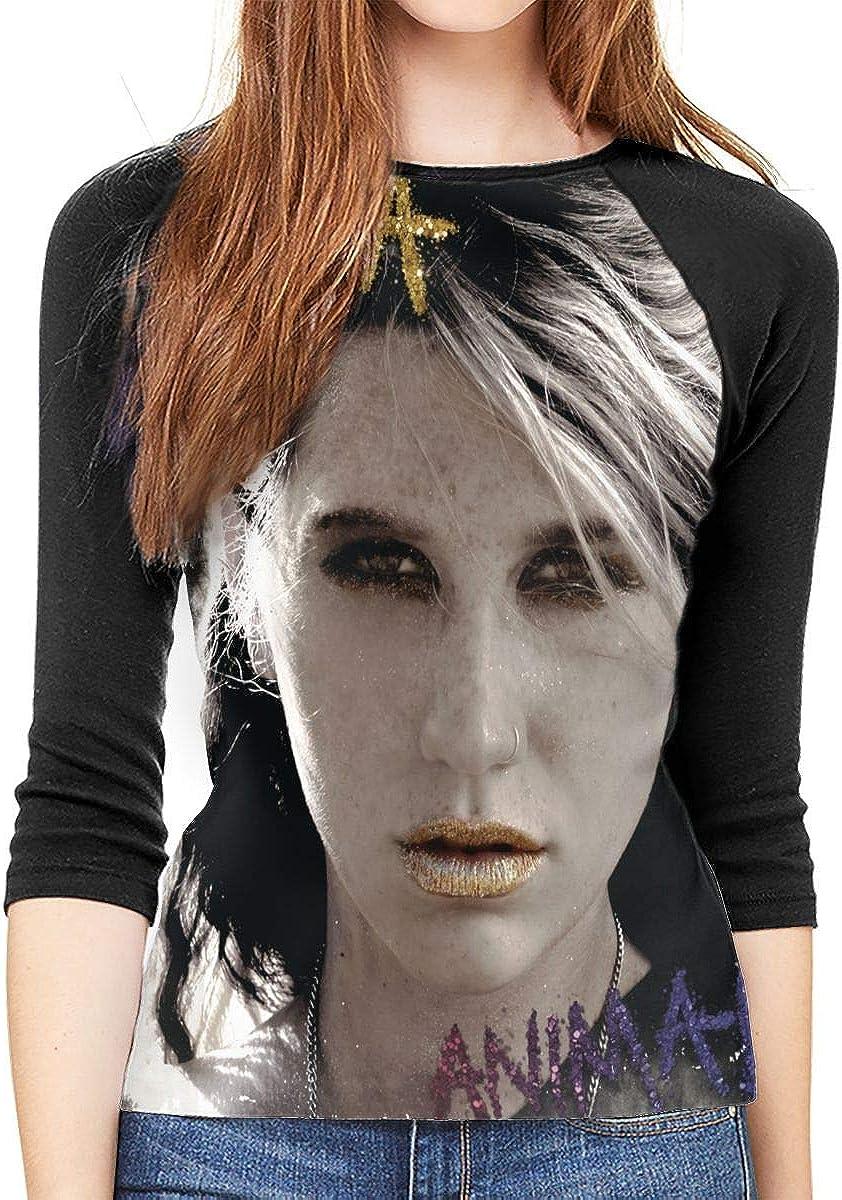 SkyeDana Ke$ha Kesha Womens Fashion Casual 3//4 Sleeves Shoulder Round Neck Baseball T-Shirt Shirt Long Shirt