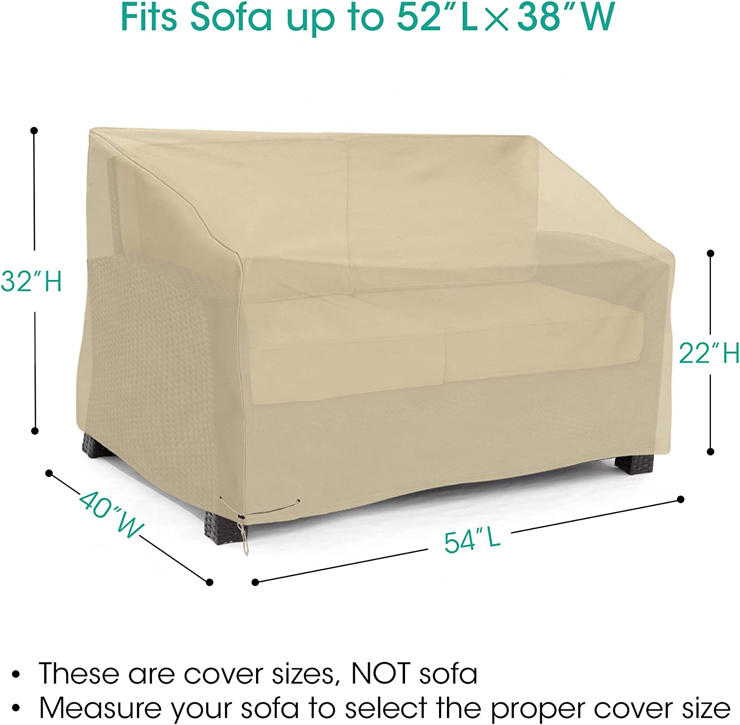 SunPatio Outdoor Deep Sofa Cover, Waterproof Loveseat Furniture Cover 54 L x 40 W x 32 22 H, Beige