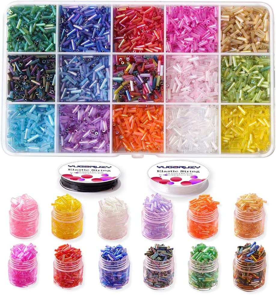 Civilipi 300 pcs 8 x 12mm DIY Teardrop Glass Beads Crystal Beads Glass Beads Kits AB Colour Faceted Beads Assorted Kits Set for Jewelry Making with Elastic Cord Storage Box