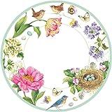 Entertaining with Caspari Spring Sketchbook Salad/Dessert Plates (8 Pack), Pink