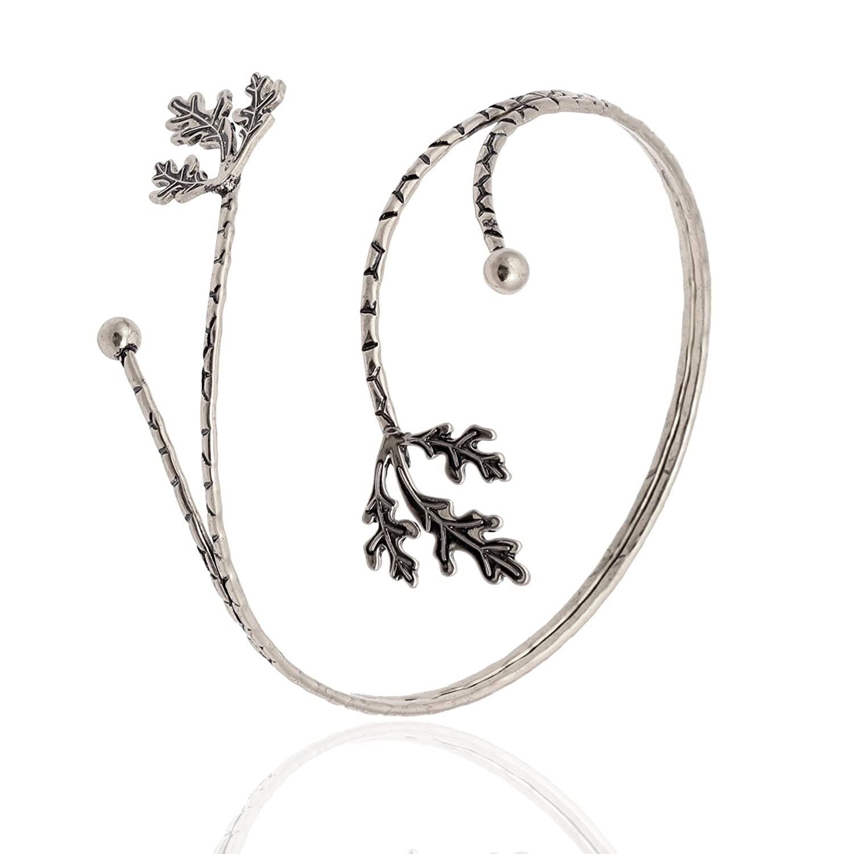 TUSHUO Fashion Gold Tone Leaf Upper Arm Bracelet Armlet Open Bangle Armband