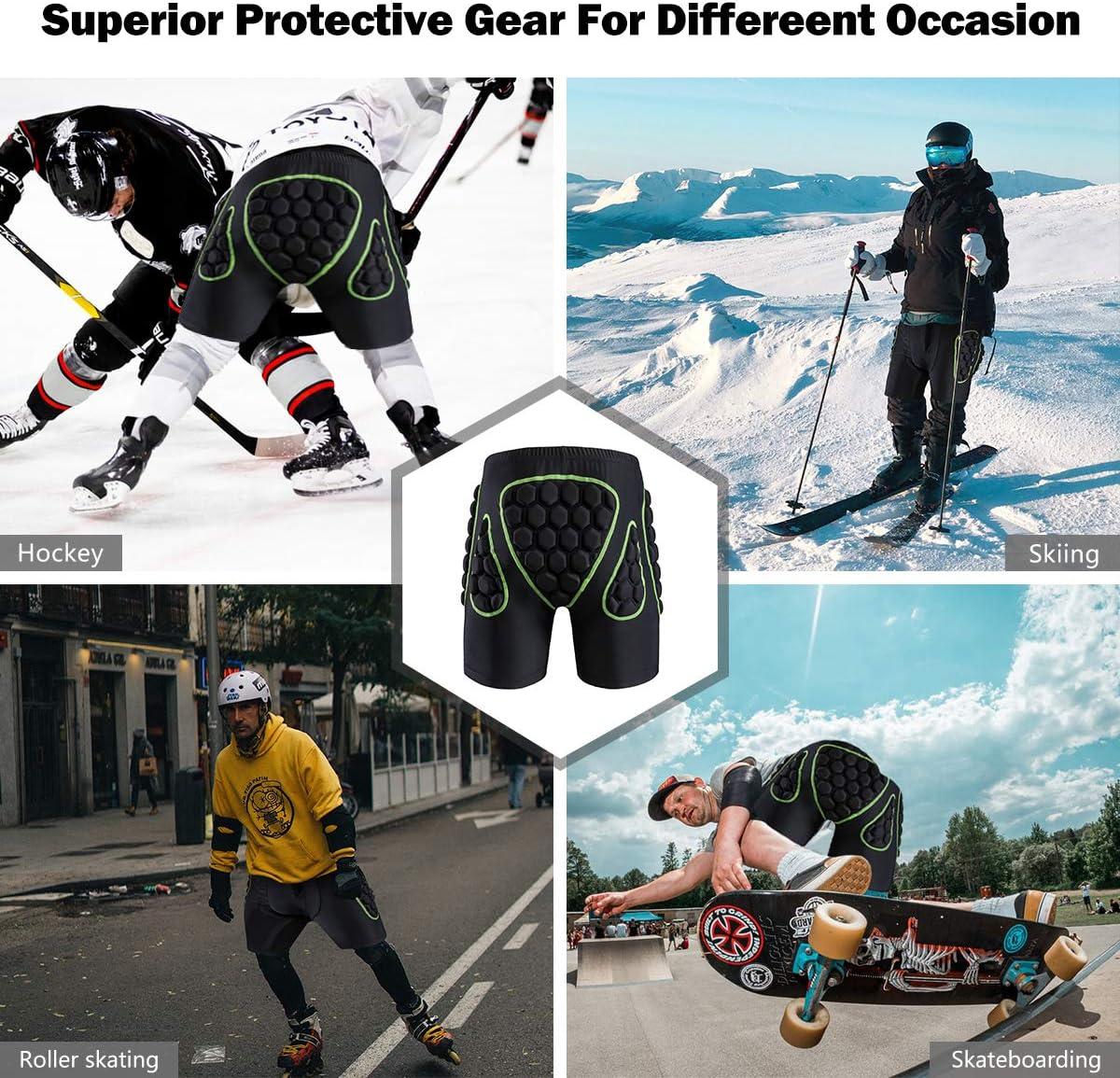 Hielo KINGUARD esqu/í Hockey o Ciclismo Pantalones Cortos Acolchados 3D con protecci/ón de coxis y coxis para Snowboard Ciclismo