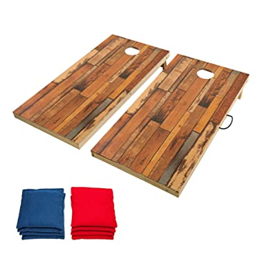TIANNBU Solid Wood Cornhole Set Portable Bean Bags Toss Game, Durable Printed Surface and Underneath for Indoor and Outdoor,Stitching Wood Grain