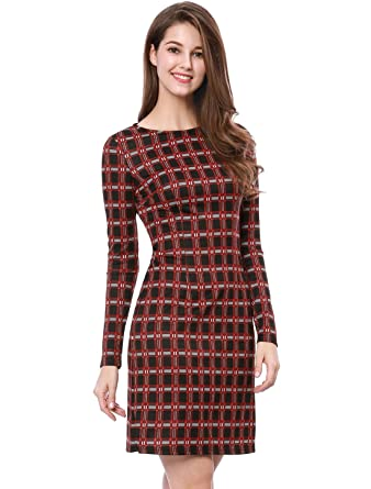77ccbc6897703 Allegra K Women's Long Sleeves Plaids Business Sheath Work Office Midi Dress  Red XS (US