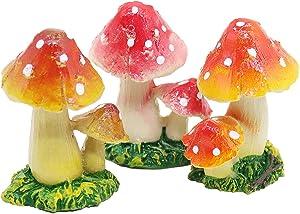 3 Pcs Mushroom Miniature Figurines Mushroom Statue Resin Figurines Fairy Garden Miniature Moss Landscape DIY Terrarium Crafts Ornament Accessories for Home Décor,A