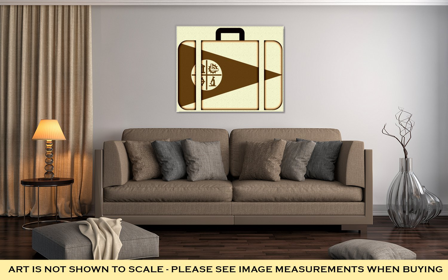 Ashley Canvas Flag Of Minneapolis Minnesota Suitcase Icon Travel And Transportation Concept, Home Office, Ready to Hang, Sepia 20x25, AG6461125