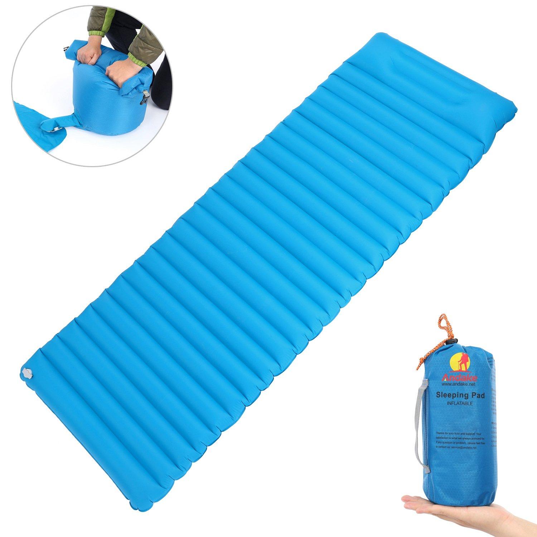 Andake Ultraleicht ca 11cm x 11cm x 29cm kleines Packma/ß ca 190 x 65 x 8cm Abmessung ca 699g 1 Person Single Isomatte Luftmatratze Luftbett G/ästebett aufblasbar mit Pumpsack als Pumpe