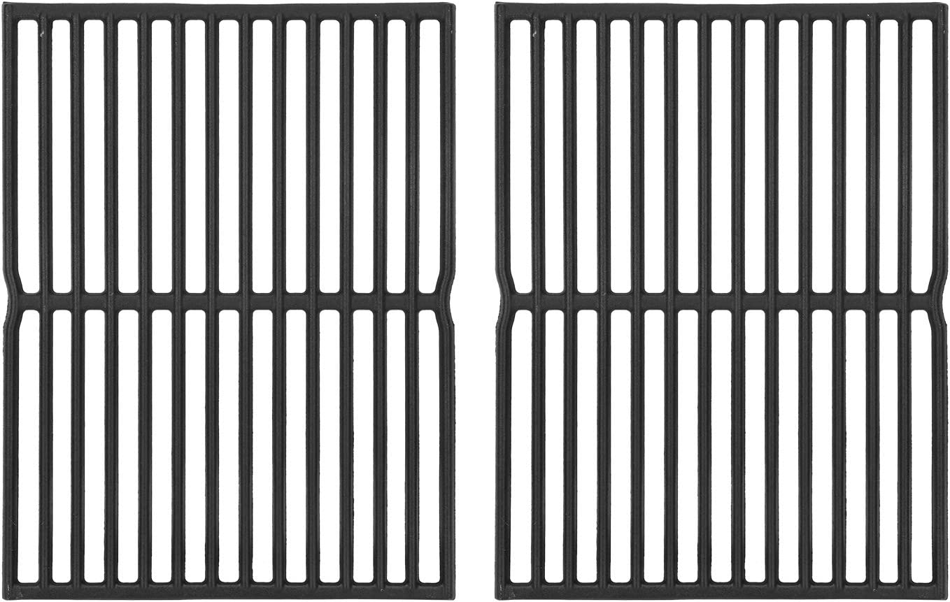 DcYourHome 7522 Cast Iron Grill Grates for Weber Genesis Silver A Spirit 210 Spirit e210 Spirit 500 Parts, 15 Inch Cooking Grates for Charbroil 463353505 463360306