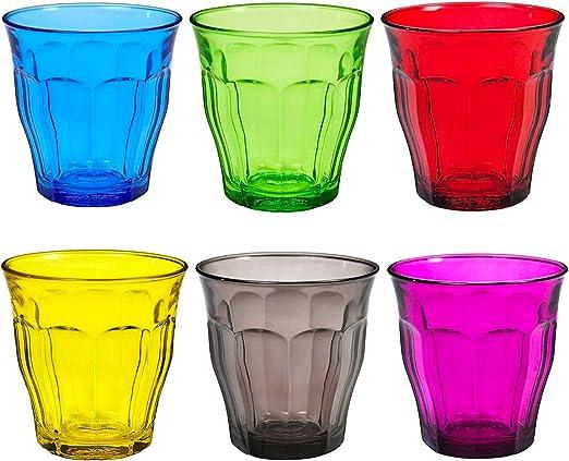 Duralex Picardie - Juego de Vasos Bajos de Colores - para Agua o Zumo - Multicolor - 250 ml - Pack de 6: Amazon.es: Hogar