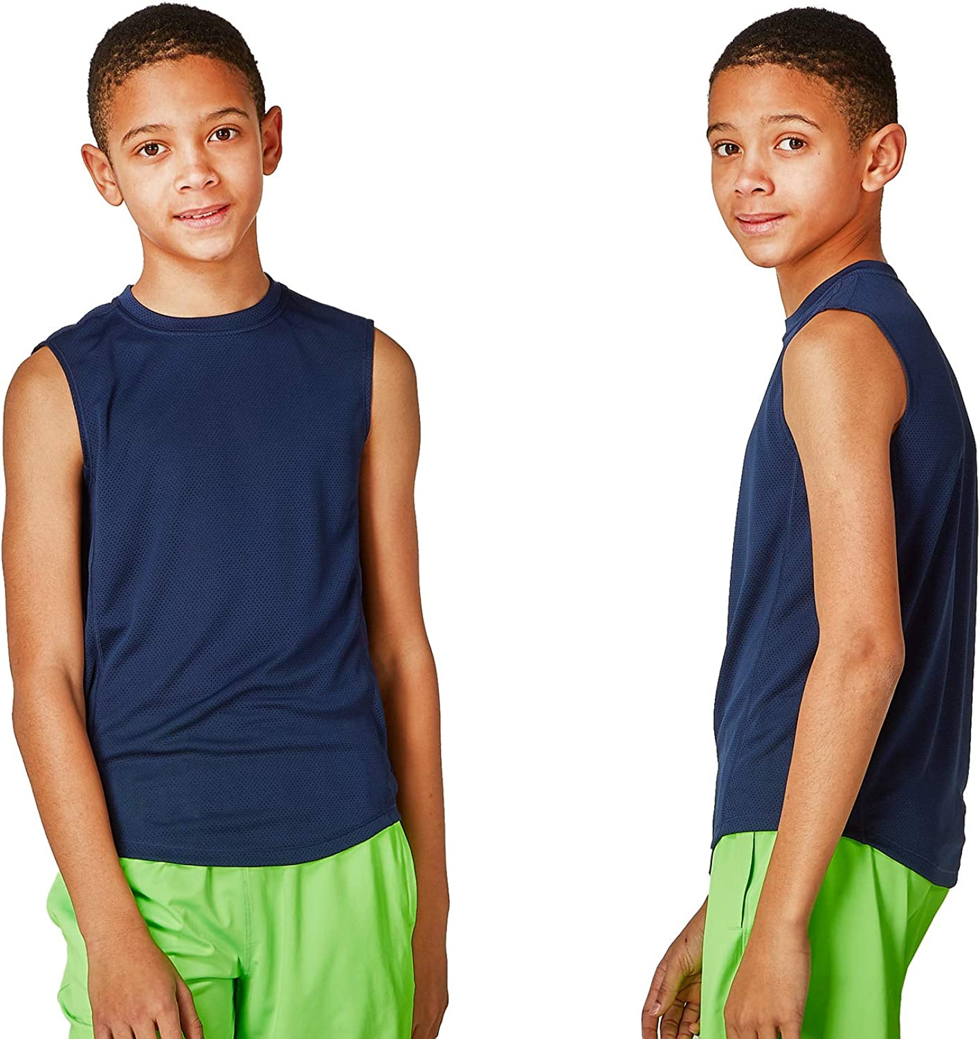 DEVOPS Boys 2 Pack Cool-Chain Workout Tank Top Sleeveless