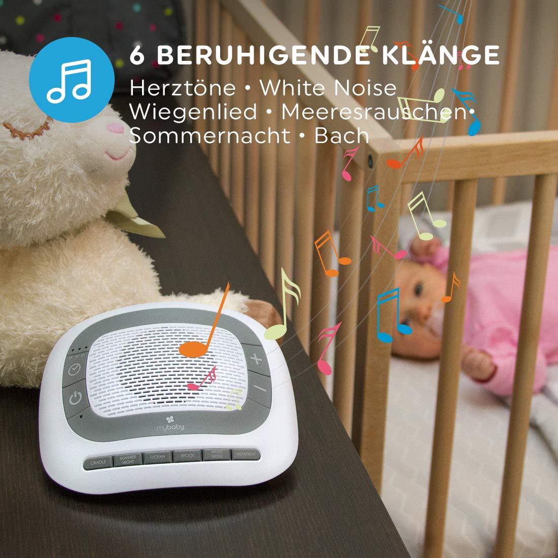 Einschlafhilfe f/ür Babys und Kleinkinder mit Schlafliedern /& nat/ürlichen Kl/ängen wie Herzt/öne Meeresrauschen Timerfunktion MyBaby SoundSpa White Noise /& beruhigende Kl/änge Wei/ßes Rauschen