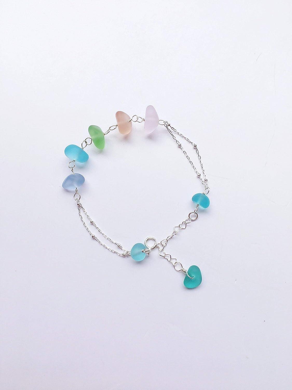 Sterling Silver Bracelet Beach Glass Bracelet Toggle Clasp Sea Glass Bracelet Sea Glass Jewelry Aqua Sea Glass Beach Glass Jewelry