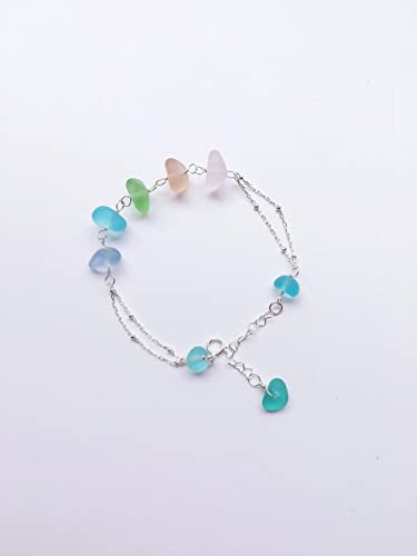 Sea Glass Jewellery Dainty Bracelet Sea Glass Bracelet Sterling Silver Bangle Sterling Silver Bracelet Charm Bangle Sea Glass Charms