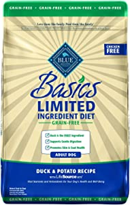 Blue Buffalo Basics Limited Ingredient Diet, Grain Free Natural Adult Dry Dog Food, Duck & Potato 22-lb