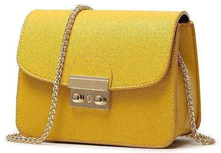 Honeymall Kleine Damentasche Umhängetasche Citytasche Schultertasche Handtasche Elegant Retro Vintage Tasche Kette Band(Orang