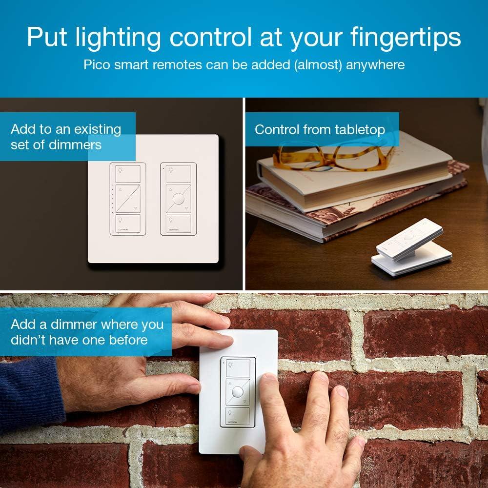 Lutron Caseta Wireless Pico Switch and Wall-Mounting Kit White PJ2-WALL-WH-L01