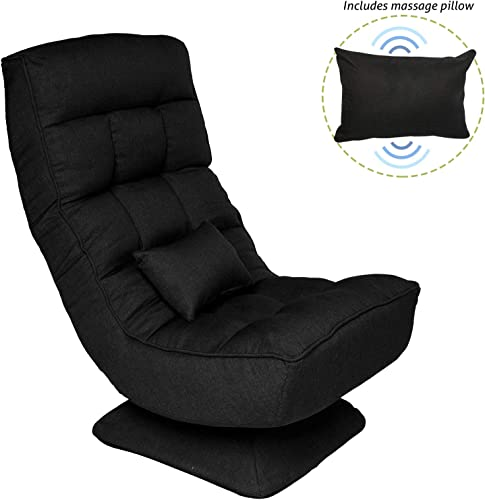 Gaming Chair Folding Chair Lazy Sofa 360 Degree Swivel Adjustable Positions Multiple Angles Backrest with Massage Function Pillow,Folding Floor Chair for Home, Balcony, Office Black