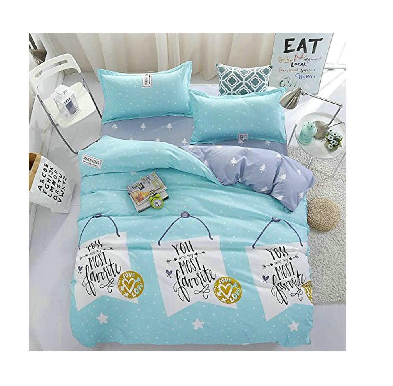 KFZ Children Bedding Duvet Cover Flat Bedsheet Pillowcase 4pcs No Comforter JSD Twin Full Queen Princess Dream Daily Baby Love Favorite Holiday Designs (Baby Love, Blue, Twin, 59x78, 3pcs) 59x78