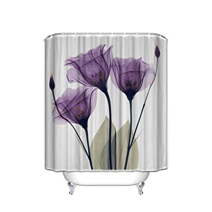 Chic D Home Decor Lavender Hope Shower Curtain 48 X 72 Inch Purplewhite