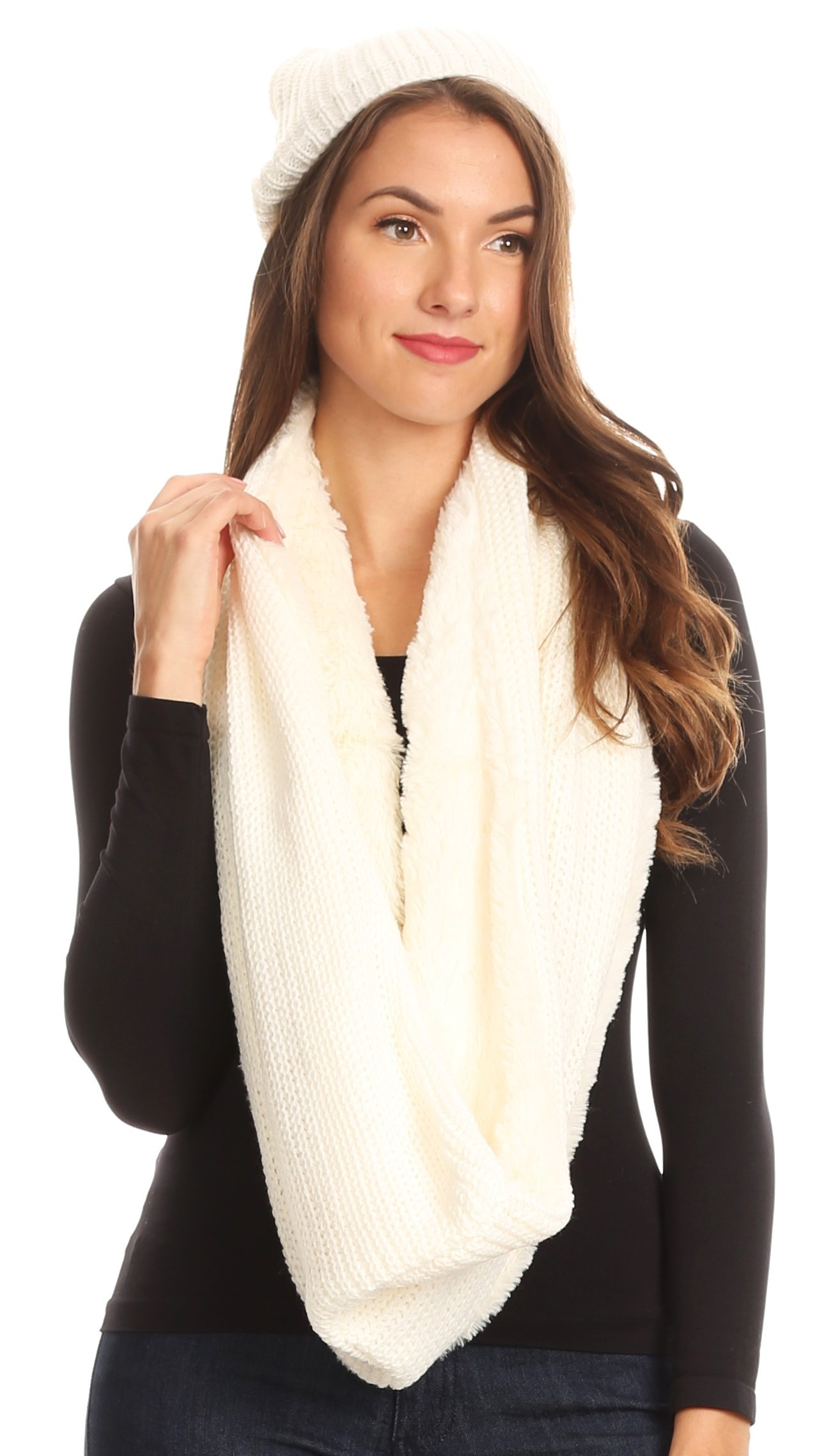 Sakkas 16139 - Balencia Cool Girl Long Wide Soft Fur Lined Infinity Scarf Beanie Hat Set - White - OS