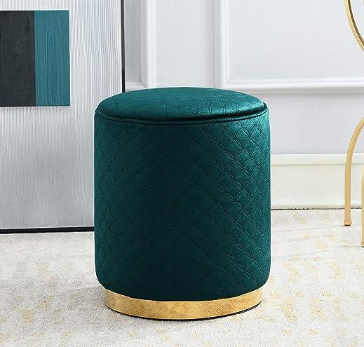 Comfortland 14 Inches Round Storage Ottoman Bench