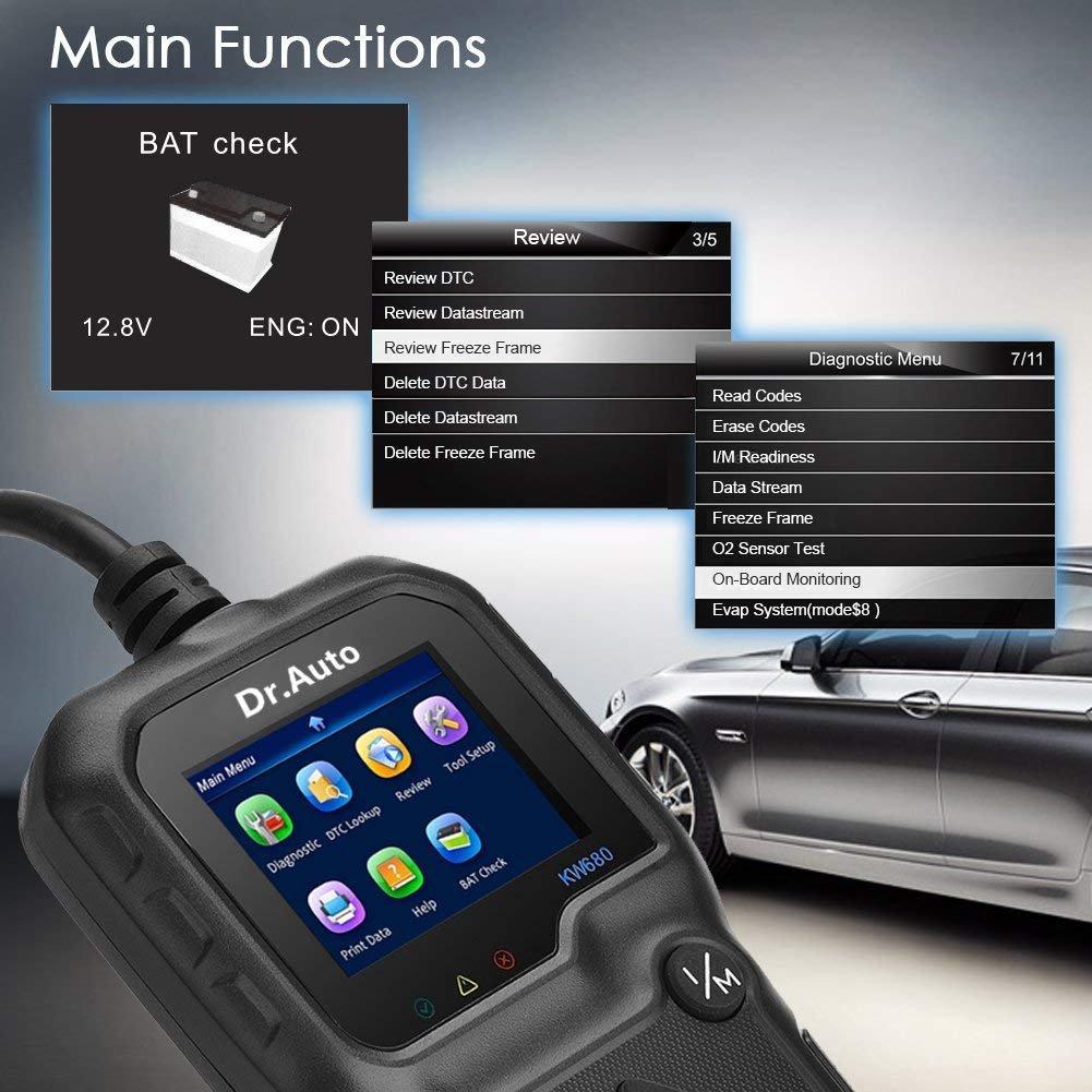 Dr Auto 2.8 LCD OBD2 Herramienta Diagn/óstico Autom/óvil Universal OBD II Esc/áner Lector de C/ódigo de Coche y Esc/áner de sistemas de sensor de O2 para Lee y Borra los C/ódigos de Falla