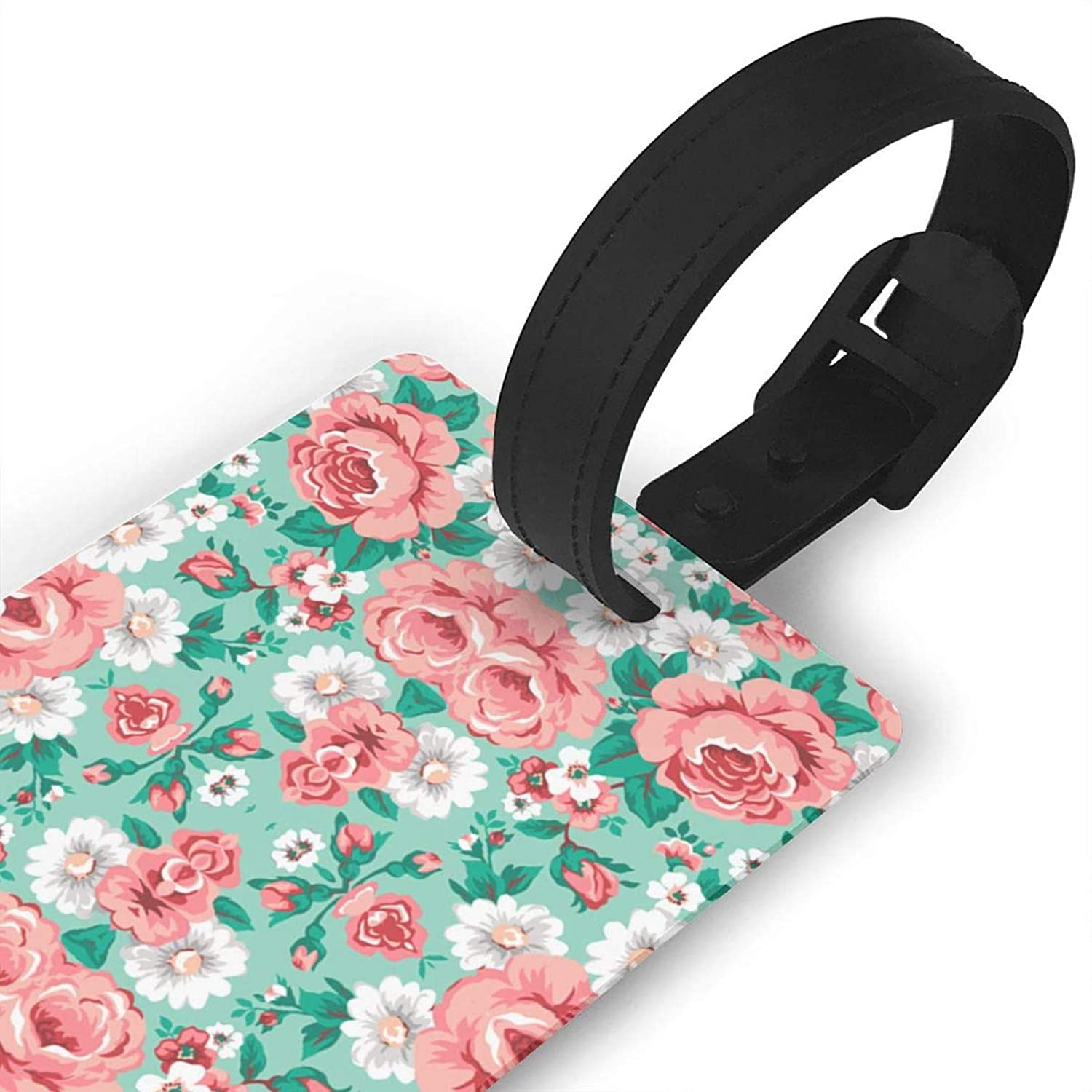 Floral with Roses in Mint,Travel ID Bag Tag for Suitcase,Printed,Flexible PVC,Travel ID Identification for Bags Consignment Card