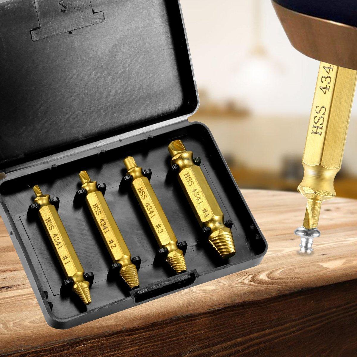 Demason 6 Pcs HSS 4341 Screw Extractor Set Damaged Screw Remover and Bolt Extractor #0#1#2#2#3#4 Professional Broken Screw Extractor Tool