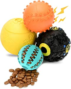 Wainbowa 4pack Dog Treat Balls, Interactive Food Treat Dispensing Dog Toys for Small Medium Large Dogs, Dog Puzzles Toys, Natural Rubber Squeaky Toys, Dog Chew Teeth Cleaning