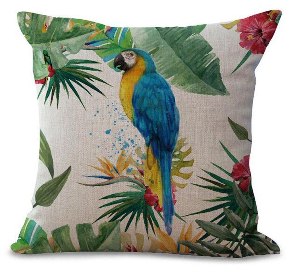 Hand-painted Tropical Flowers And Birds Parrot Plant Christmas Gift Cotton Linen Decorative Throw Pillow Case Cushion Cover Square 18 X18